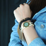 Women's Handcrafted 100% Natural Wooden Watch // Personalized Engravings // Pine+Green Wood // Danae - Woodzystore