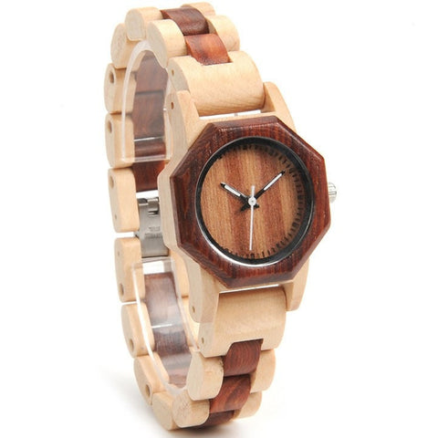 Women's Handcrafted 100% Natural Wooden Watch // Personalized Engravings // Pine+Red Wood // Circe - Woodzystore