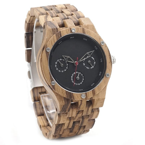 Men's Handcrafted 100% Natural Wooden Watch // Personalized Engravings // Zebrawood // Zeus - Woodzystore