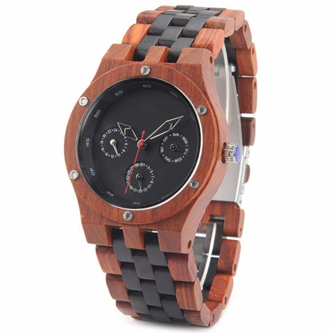 Men's Handcrafted 100% Natural Wooden Watch // Personalized Engravings // Red+Ebony Wood // Ares - Woodzystore