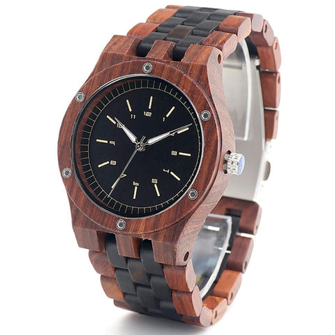 Men's Handcrafted 100% Natural Wooden Watch // Personalized Engravings // Red Sandal Wood // Hades - Woodzystore