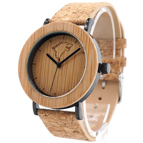 Unisex Handcrafted 100% Natural Wooden Watch // Personalized Engravings // Cork Strap // Attis - Woodzystore