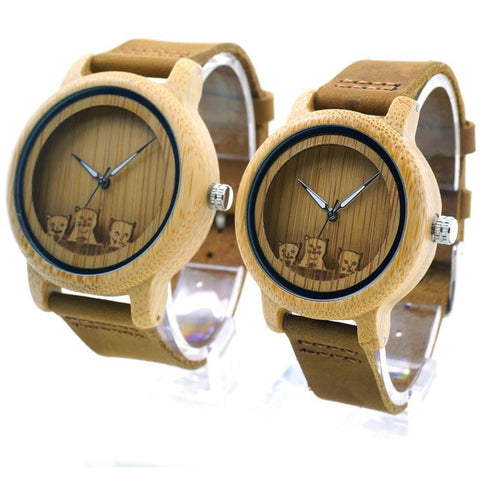 Unisex Handcrafted 100% Natural Wooden Watch // Personalized Engravings // Bamboo Wood // Pan - Woodzystore
