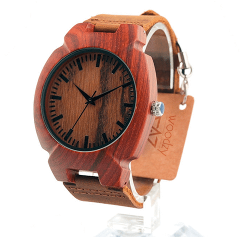 Men's Handcrafted 100% Natural Wooden Watch // Personalized Engravings // Leather Strap // Dawn