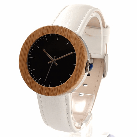 Women's Handcrafted 100% Natural Wooden Watch // Personalized Engravings // Bamboo Wood // Leather Strap // Irene - Woodzystore
