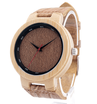 Men's Handcrafted 100% Natural Wooden Watch // Personalized Engravings // Sandalwood // Leather Strap // Thonis - Woodzystore