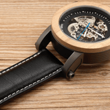 Men's Handcrafted 100% Natural Wooden Watch // Bamboo Wood // Leather Strap // The One - Woodzystore
