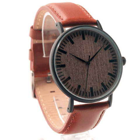 Unisex Handcrafted 100% Natural Wooden Watch // Personalized Engravings // Leather Strap // Scud - Woodzystore