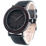 Unisex Handcrafted 100% Natural Wooden Watch // Personalized Engravings // Ebony Wood // Leather Strap // Iowa - Woodzystore