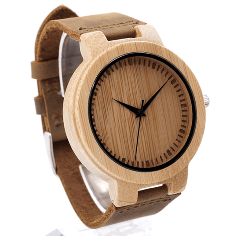 Men's Handcrafted 100% Natural Wooden Watch // Personalized Engravings // Leather Strap // Fuze - Woodzystore
