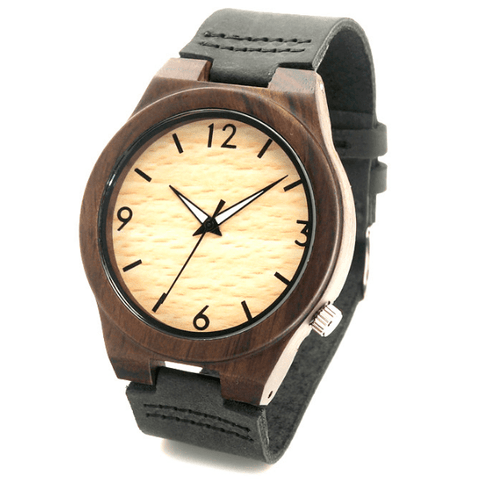 Unisex Handcrafted 100% Natural Wooden Watch // Personalized Engravings // Bamboo Wood // Leather Strap // Nuvo - Woodzystore