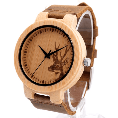 Unisex Handcrafted 100% Natural Wooden Watch // Personalized Engravings // Leather Strap // D.Fuze - Woodzystore