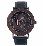 Unisex Handcrafted 100% Natural Wooden Watch // Personalized Engravings // Blackwood // Leather Strap // Kells - Woodzystore
