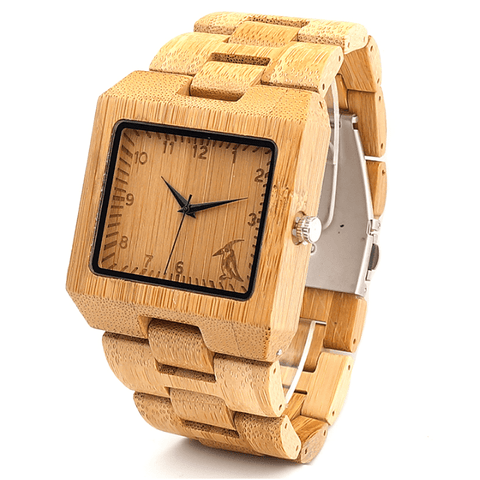 Men's Handcrafted 100% Natural Wooden Watch // Personalized Engravings // Bamboo Wood // Ross - Woodzystore