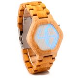 Unisex Handcrafted 100% Natural Wooden Watch // Personalized Engravings // LED Wood // Digital // Hex - Woodzystore