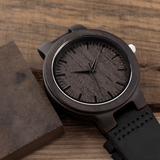Men's Handcrafted 100% Natural Wooden Watch // Personalized Engravings // Bamboo Wood // Leather Strap // Talbot - Woodzystore