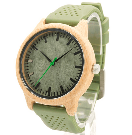 Unisex Handcrafted 100% Natural Wooden Watch // Personalized Engravings // Bamboo Wood // Silicon Strap // Edge - Woodzystore