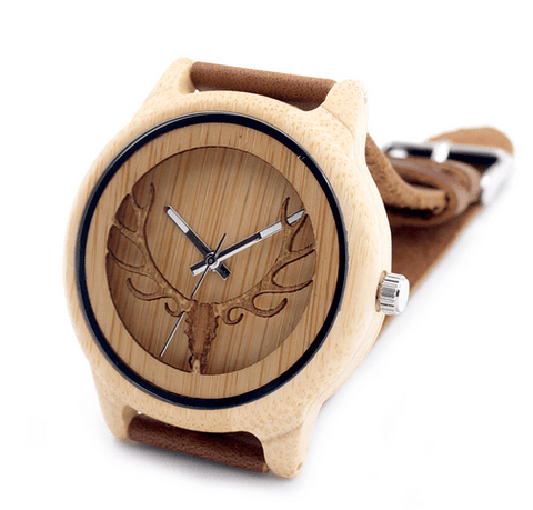 Men's Handcrafted 100% Natural Wooden Watch // Personalized Engravings // Leather Strap // Fetch - Woodzystore