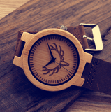Men's Handcrafted 100% Natural Wooden Watch // Personalized Engravings // Leather Strap // Eon - Woodzystore