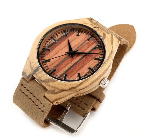 Unisex Handcrafted 100% Natural Wooden Watch // Personalized Engravings // Bamboo Wood // Leather Strap // Nimrod - Woodzystore