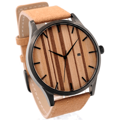 Unisex Handcrafted 100% Natural Wooden Watch // Personalized Engravings // Bamboo Wood // Leather Strap // Zenith - Woodzystore