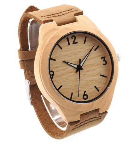 Unisex Handcrafted 100% Natural Wooden Watch // Personalized Engravings // Leather Strap // Ely - Woodzystore
