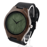 Men's Handcrafted 100% Natural Wooden Watch // Personalized Engravings // Ebony Wood // Leather Strap // Theo - Woodzystore