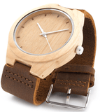 Unisex Handcrafted 100% Natural Wooden Watch // Personalized Engravings // Leather Strap // Frankie - Woodzystore