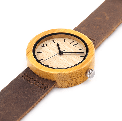Women's Handcrafted 100% Natural Wooden Watch // Personalized Engravings // Leather Strap // Aurora - Woodzystore