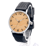 Unisex Handcrafted 100% Natural Wooden Watch // Personalized Engravings // Bamboo Wood // Silicon Strap // June - Woodzystore