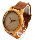 Unisex Handcrafted 100% Natural Wooden Watch // Personalized Engravings // Bamboo Wood // Leather Strap // Sidney - Woodzystore