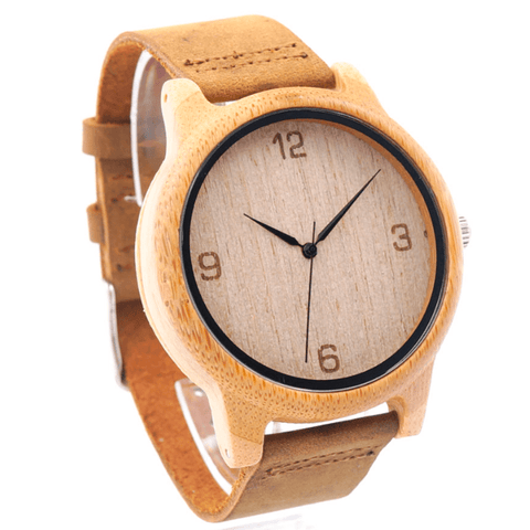 Unisex  Handcrafted 100% Natural Wooden Watch // Personalized Engravings // Leather Strap // Jasper - Woodzystore