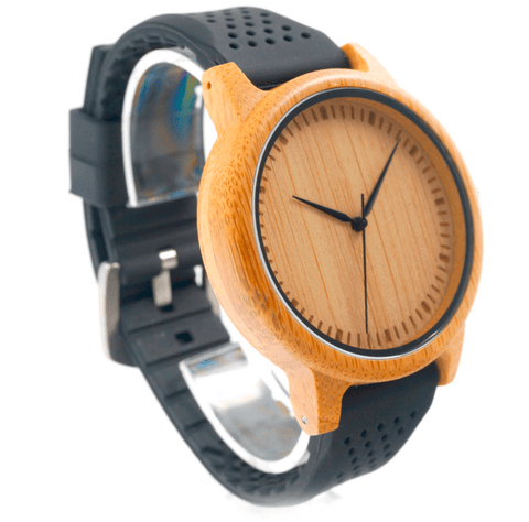 Unisex Handcrafted 100% Natural Wooden Watch // Personalized Engravings // Bamboo Wood // Silicon Strap // Cora - Woodzystore