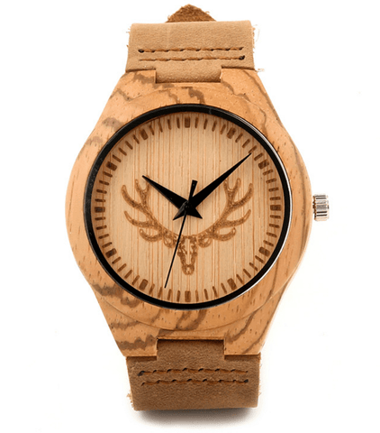 Unisex Handcrafted 100% Natural Wooden Watch // Personalized Engravings // Leather Strap // Olive - Woodzystore
