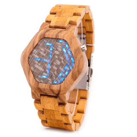 Men's Handcrafted 100% Natural Wooden Watch // Personalized Engravings // LED Wood // Asgar - Woodzystore