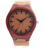 Men's Handcrafted 100% Natural Wooden Watch // Personalized Engravings // Redwood // Leather Strap // Reddy - Woodzystore