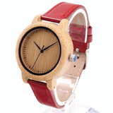 Women's Handcrafted 100% Natural Wooden Watch // Personalized Engravings // Leather Strap // Red - Woodzystore