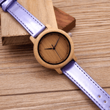 Women's Handcrafted 100% Natural Wooden Watch // Personalized Engravings // Bamboo Wood // Leather Strap // Violet - Woodzystore