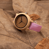 Women's Handcrafted 100% Natural Wooden Watch // Personalized Engravings // Leather Strap // Pink - Woodzystore