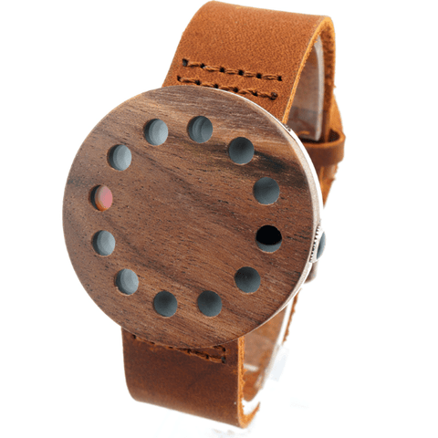 Unisex Handcrafted 100% Natural Wooden Watch // Personalized Engravings // Leather Strap // Ester - Woodzystore