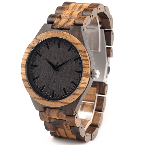 Men's Handcrafted 100% Natural Wooden Watch // Personalized Engravings // Zebrawood // Zebra - Woodzystore