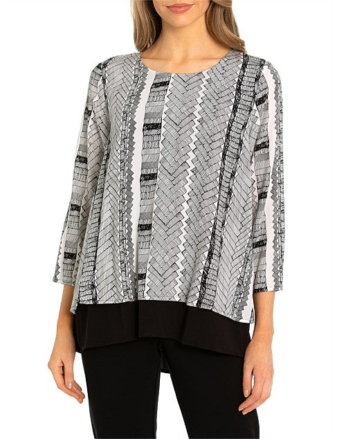Marco Polo 3/4 Etch Panel Blouse