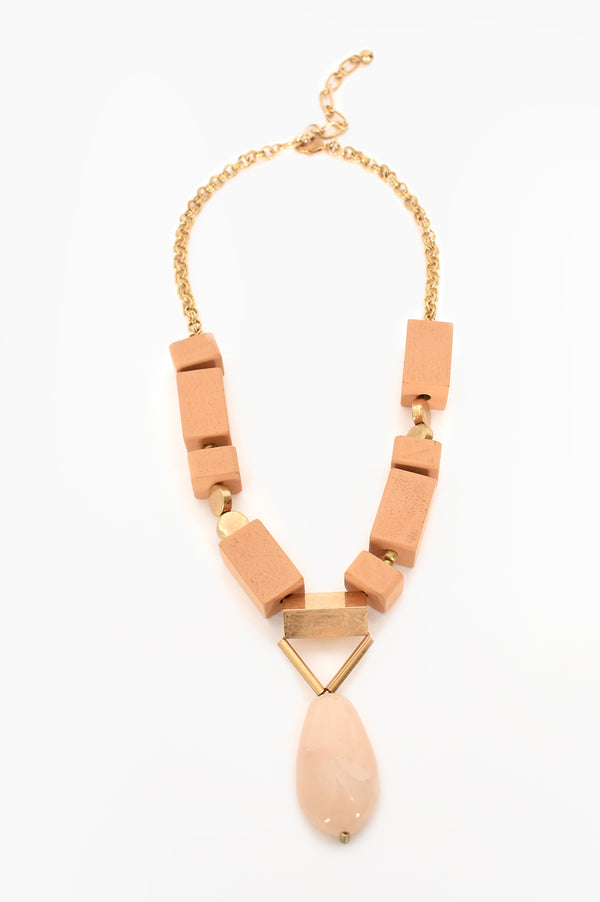 Adorne Timber Blocks Stone Drop Necklace