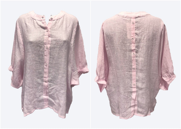 Worthier Pink Linen Top