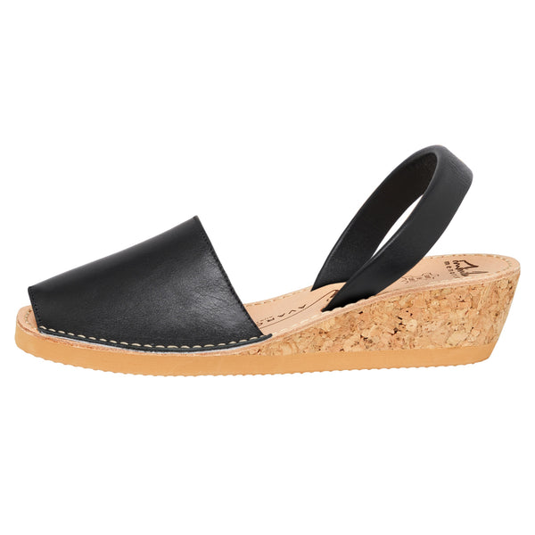 Avarcas Black Wedge High Strap