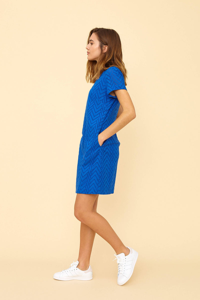 Emily & Fin Lina Ocean Blue Broderie Anglaise Shift Dress
