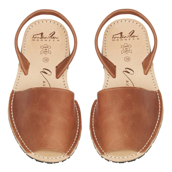 Avarcas Tan Leather Wedge High Strap