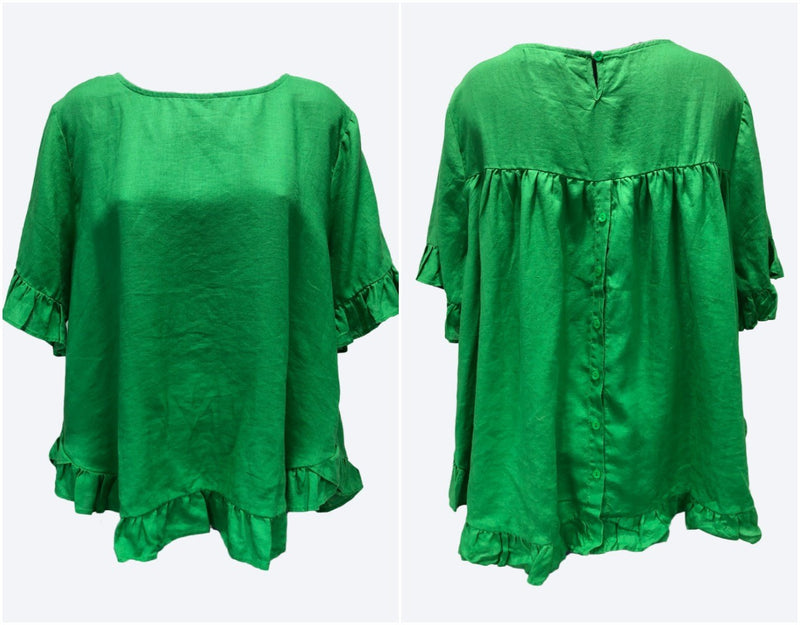 Worthier Emerald Green Linen Top