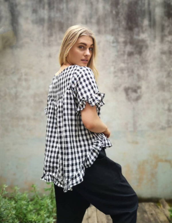 Worthier Black/White Gingham Top