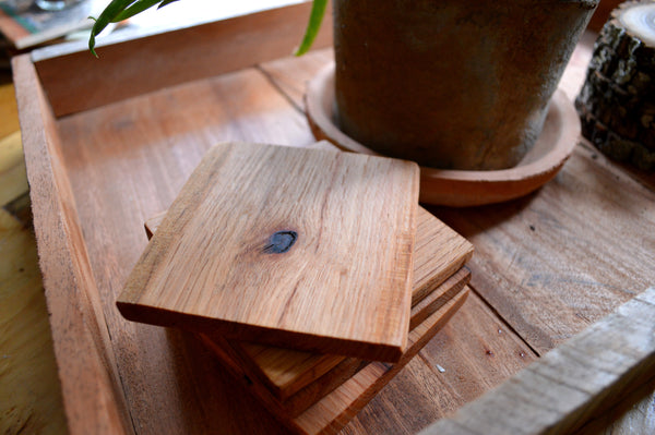 Reclaimed Oak Pallet Runner Wood Drink Coasters